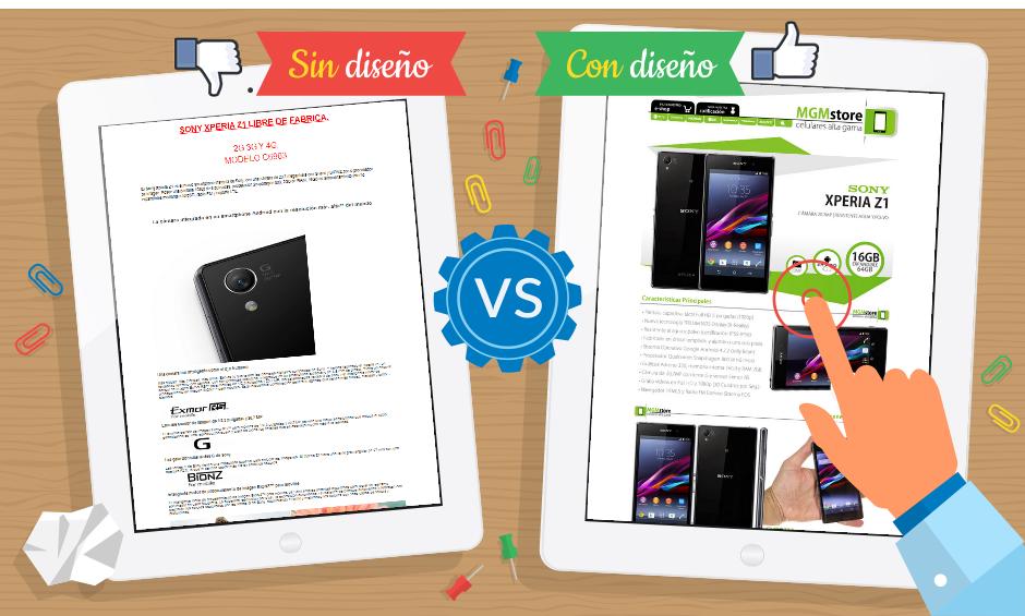 Mirá la diferencia entre una Publicación en Mercadolibre con y sin diseño